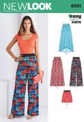 6381 New Look Pattern: Misses' Knit Skirts ad Trousers or Shorts